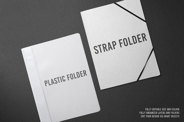 Strap and plastic folder mockup design