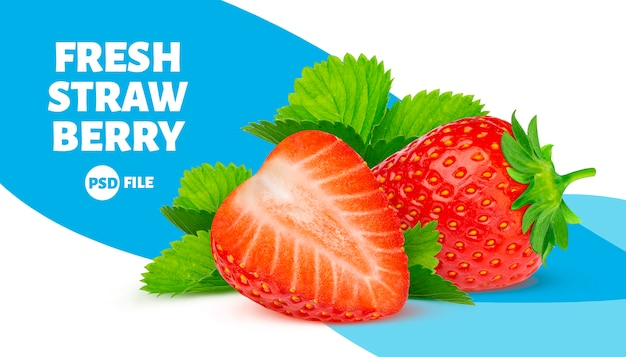 Strawberries with leaves banner