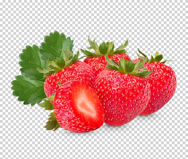 Strawberries with leaves isolated