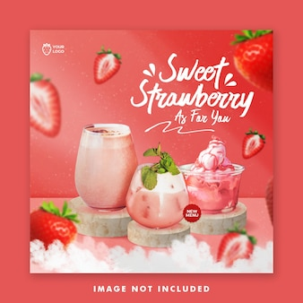 Strawberry drink menu social media post banner instagram template for promotion