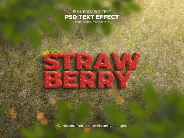Strawberry editable text effect mockup