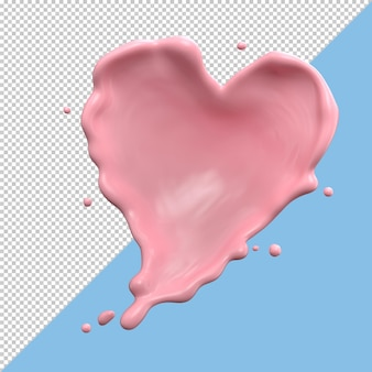 Strawberry heart shape milk splash isolated