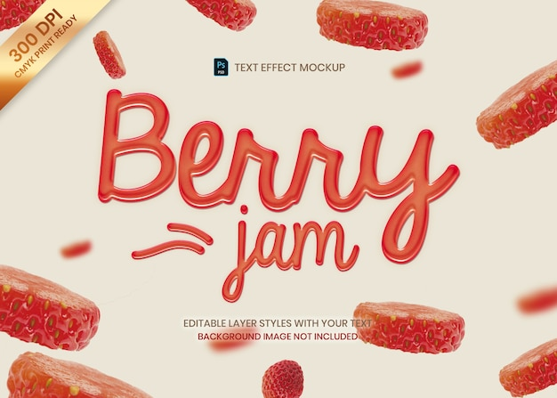 Strawberry jam text effect template