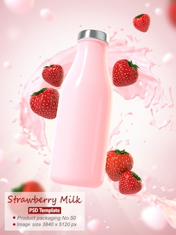 Strawberry milk  background template 3d render