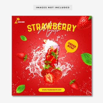 Strawberry mojito social media instagram post banner template
