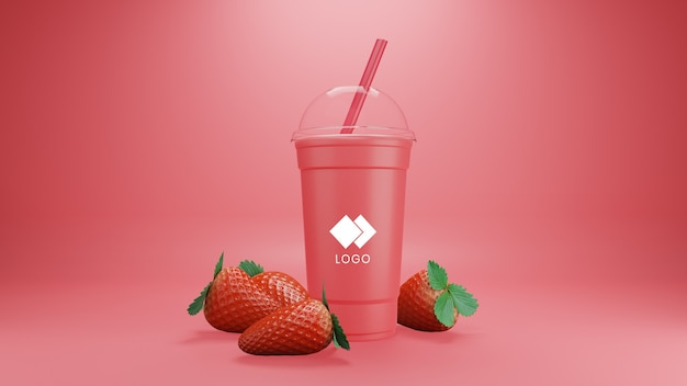 Strawberry smoothie mockup isolated with fruits