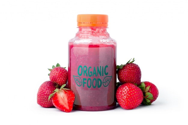 Strawberry smoothie in a plastic bottle mock up