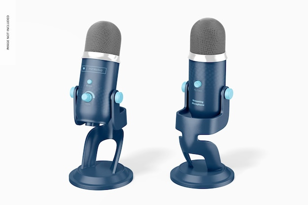Streaming microphone mockup, front and back