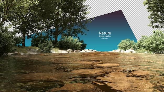 ストリームと川沿いの植物ストリーム環境クリッピングパス
