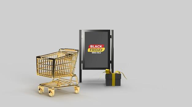 Мокап стенда для уличной рекламы с 3d-рендерингом тележки