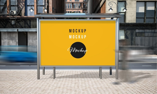 Street advertising bus stop mock up