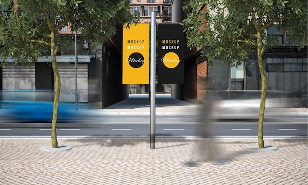 Street advertising lamppost mock up