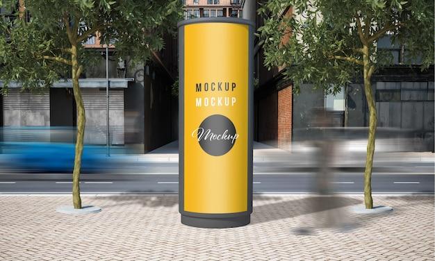 Street advertising rounded kiosk mock up