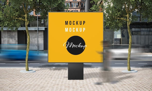 Street advertising square billboard mock up