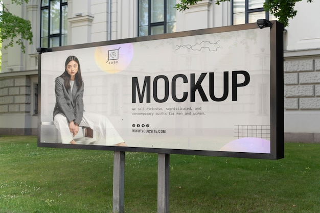 Street advertising with young woman mockup