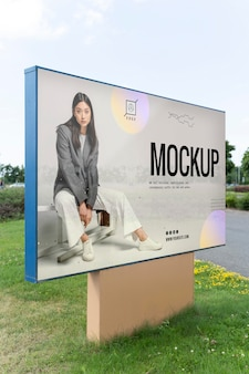 Street announcement mockup with woman