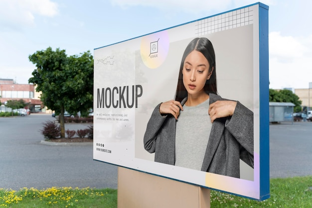 Street announcement mockup with young woman