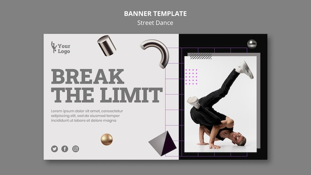 Street dance banner template with photo