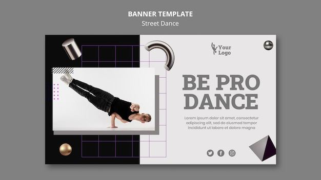 Street dance horizontal banner template with photo
