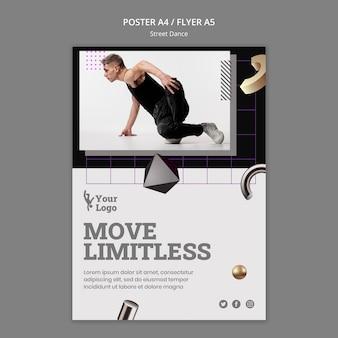 Шаблон плаката уличных танцев с фото