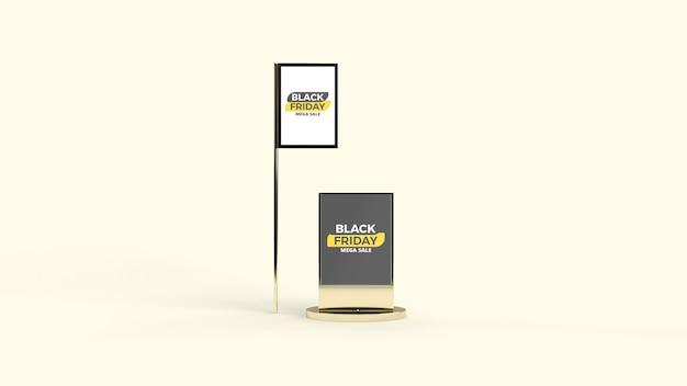 Street digital led advertisement pole and board mockup
