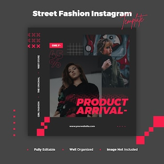 Street fashion instagram post and banner template