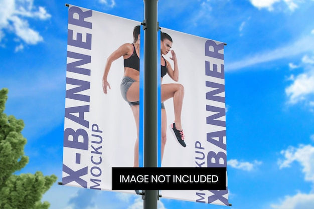 Street pole banner mockup bottom left angle view