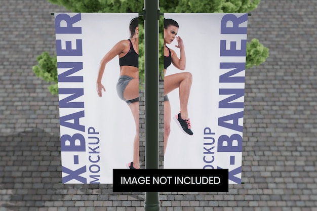 Street pole banner mockup top front angle view