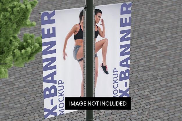 Street pole banner mockup top left angle view