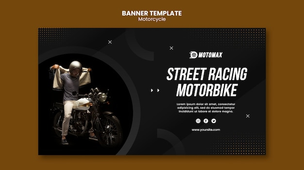 Street racing motorbike banner template