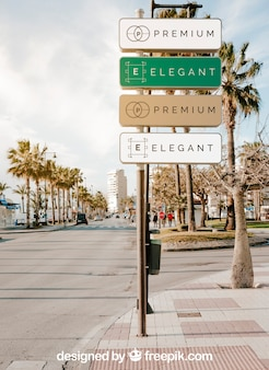 Street sign mockup of four