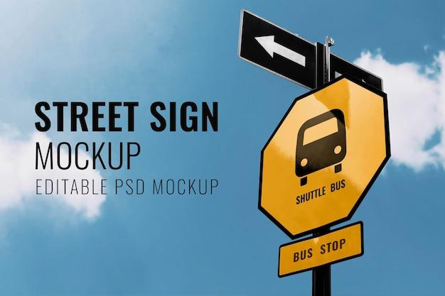 Street signs mockup psd on blue sky background