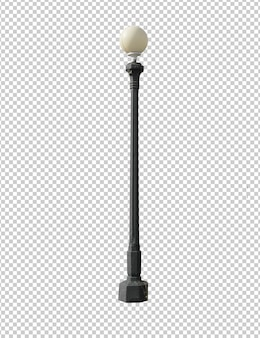 Street vintage lamp isolated against white background