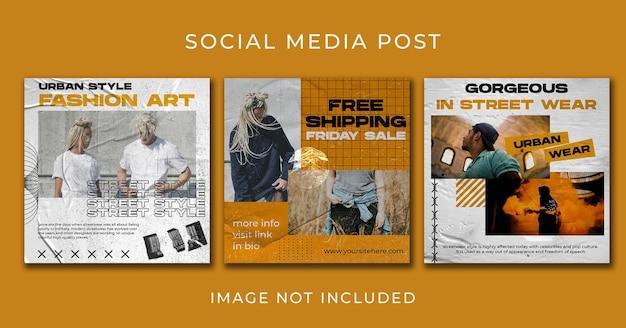 История уличной одежды instagram или набор шаблонов вертикального баннера премиум psd