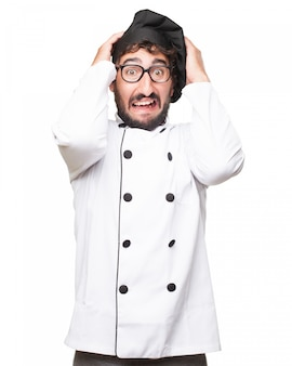 Stressed chef wearing uniform