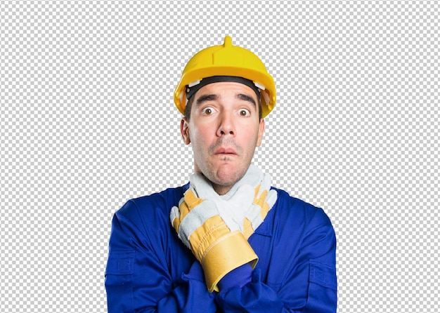 Stressed worker on white background