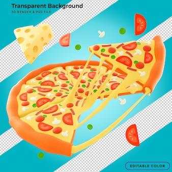チーズと豊富な食材を使った3dイラストのストリングシーフードピザポスター広告