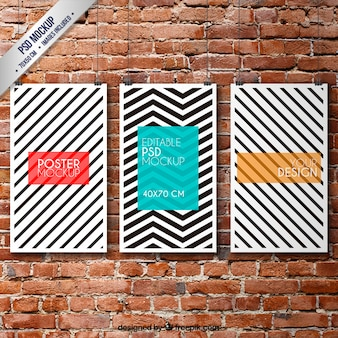 Striped posters mockup