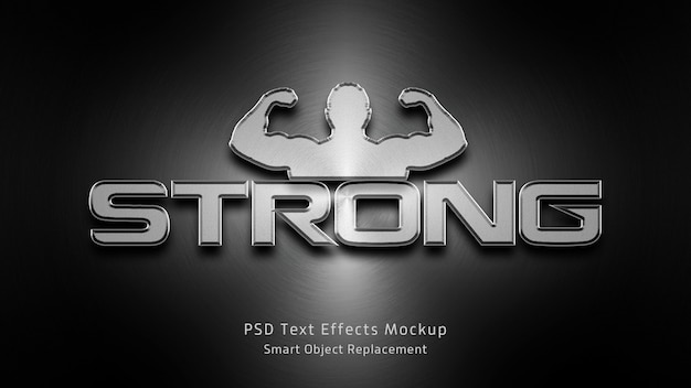 Strong 3d text effects mockup