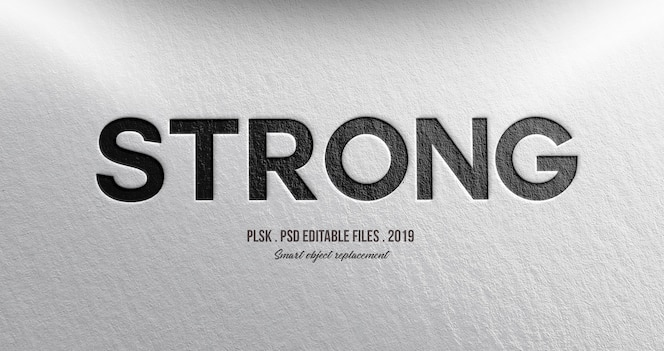Strong 3d text style effect