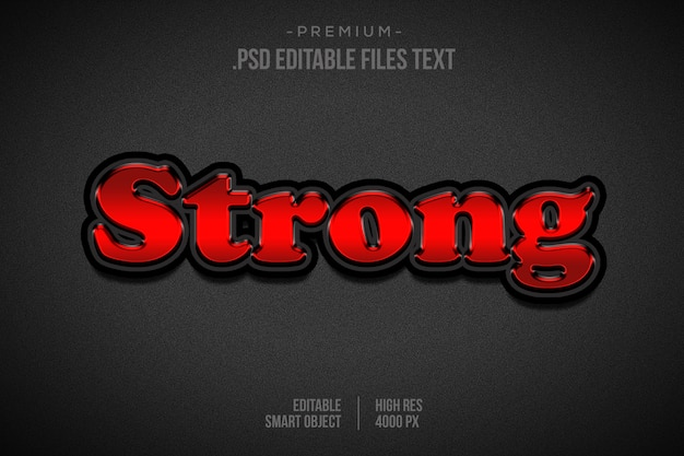 Strong text effect, set elegant abstract strong text effect, strong text style editable font effect