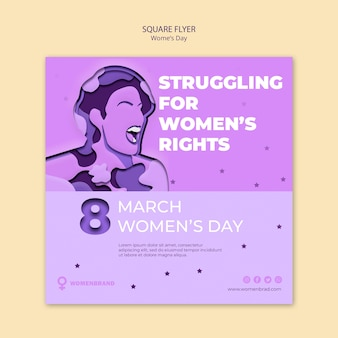 Struggling for rights women's day square flyer