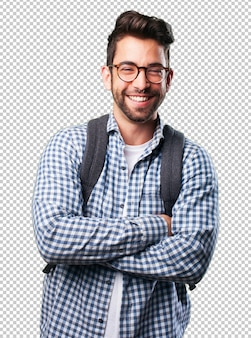 Student laughing on white
