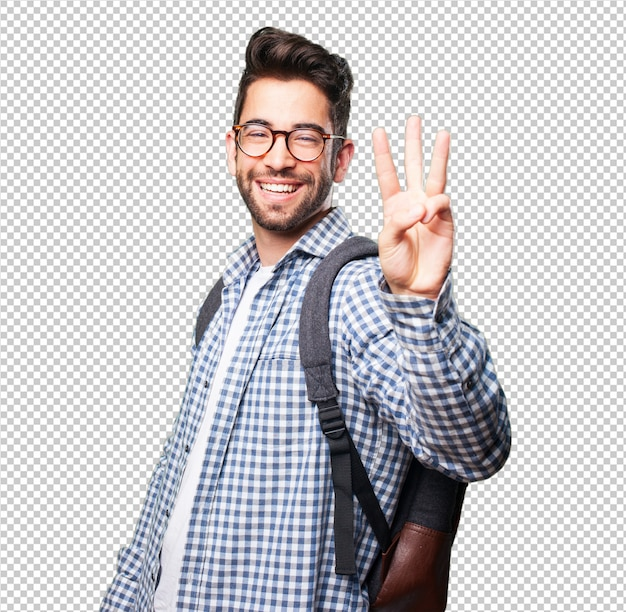 Student man doing number three gesture