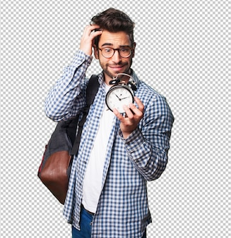 Student man holding an alarm clock