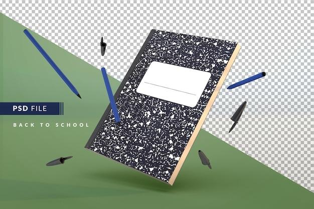 학생용 노트북과 파란색 펜이 학교 3d 개념으로 돌아가고 있습니다.