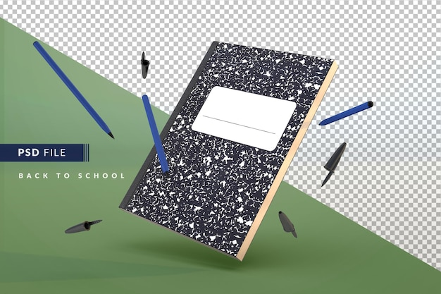 Student notebook and blue pen floating a back to school 3d concept