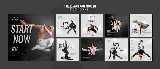 Modello di post di social media dance studio