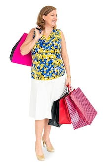 Studio shoot of woman with bags