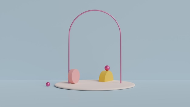 Studio with geometric shapes, podium on the floor.3d rendered